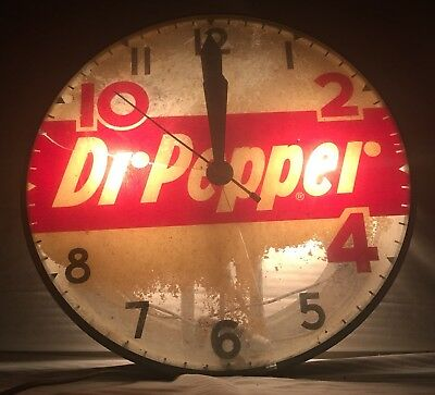 1940s to 1950s Rare Metal Dr. Pepper Clock