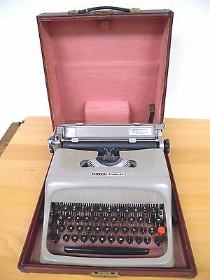 Midcentury Olivetti Studio 44 Portable Typewriter Red Case Made in Spain