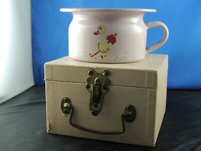 ANTIQUE 1930's CHILD CHAMBER POT ENAMELWARE WITH STORAGE CASE