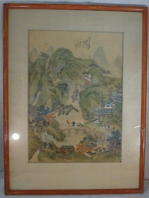 """Antique Chinese Painting on Silk. Qing Dyn. 19"""" x 13 ½"""". Nice mountain Scene."""