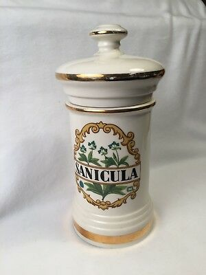 ANTIQUE SANICULA APOTHECARY JAR w/ LID - PHARMACY DISPLAY