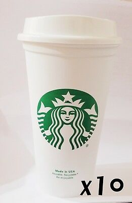 STARBUCKS Reusable Recyclable Grande 16 OZ Plastic Coffee Cup X10