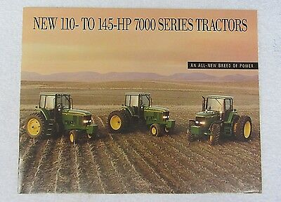 Vtg 1992 JOHN DEERE Advertising BROCHURE 7000 Series 110 -145 HP Tractor Specs