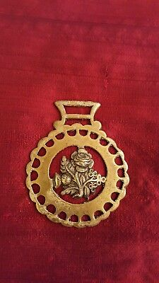 Antique/vintage Horse Harness Brass Medallion Rose And Thistle