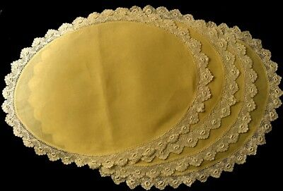 Early Vintage Four Gorgeous Yellow Linen Placemats Irish Crochet Lace Trim