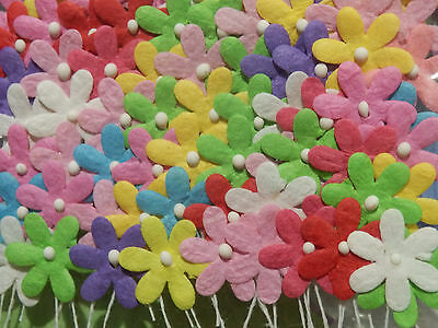 100 x 17mm FLOWERS MPFF2X Mixed Colours Scrapbook Collage Card embellishments