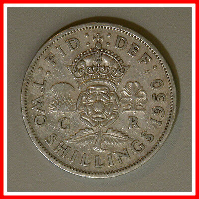 1950 Great Britain Two Shilling Coin UK England