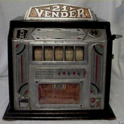 Antique Old 21 VENDER BLACKJACK PENNY GUMBALL ONE CENT Stimulator Machine 1934