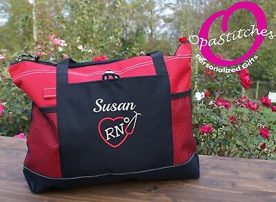 Personalized embroidered Nursing tote bag , medical tote, RN, LPN, CNA, gift