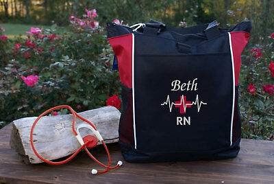 Personalized Nursing tote bag nurse RN CNA LPN MD BSN medical cross EKG design