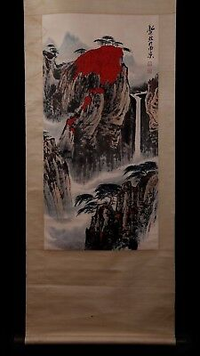 Spectacular Long Rare Chinese Scroll Hand Painting Landscape Collect Mark PP914