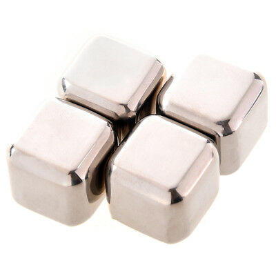 5X(4Pcs Whiskey Wine Beer Stones 440C Stainless Steel Cooler Stone Whiskey C6P5