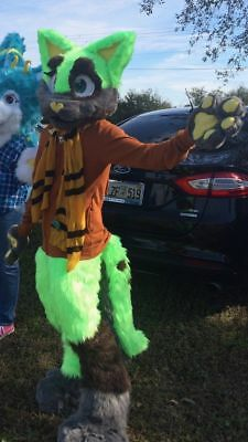 Green Cat Fursuit 3/4th Partial. Includes Head, Paws, Feet, Legs, and Tail!