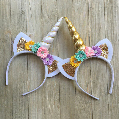 USA Magical Unicorn Horn Head Band Kids Hair Headband Fancy Dress Cosplay Gift