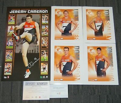 Jeremy Cameron Gws Giants Hand Signed Official Afl Vertiramic Limited Print Coa