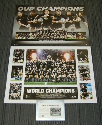 New Zealand All Blacks 2015 Rugby World Cup Champions Prints Pack Mccaw Carter