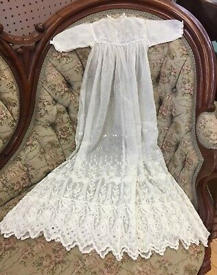 Vintage Cream Ivory Lace English Netting Christening Baptism Long Gown
