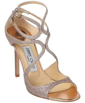 530a3699c95d1 New In Box Jimmy Choo Lang Tea Rose Glittered Strappy Sandals Size 38/8  $895.00