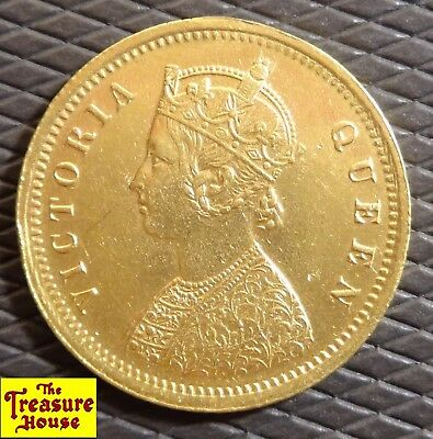 1875 Queen Victoria India ONE MOHUR British-India 22k Gold Coin KM#480 GREAT EX!