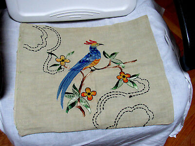 Arts & Crafts Pillow Cover Unused Embroidered Large Exotic Bird Flowers