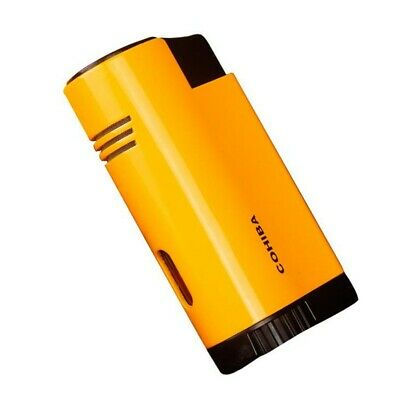COHIBA Yellow Metal 3 Torch Jet Flame Cigar Lighter With Punch