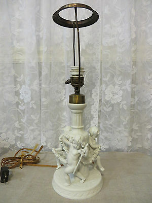 Antique White Porcelian Bisque 3 Cherubs European Table Lamp *circa 1900's* Rare