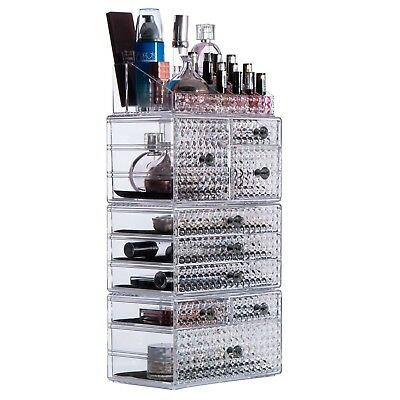 Acrylic Large 8 Tier Clear Cosmetic Makeup Storage Cube Organizer 9 Drawers