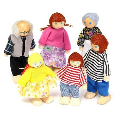 Cute Wooden House Family People Dolls Set Kids Children Pretend Play Toy Gift Bz