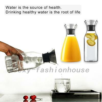 Water Pitcher 35oz Glass Carafe Juice Iced Tea Coffee Hot Water Stainless Lid