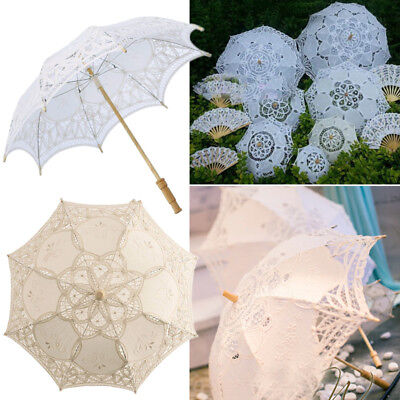 Retro Lady Girls Lace Embroidered Parasol Umbrella Bridal Wedding Party Cosplay