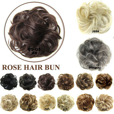 Fashion Womens Clip On Hair Bun Donut Extension Piece Wig Scrunchie 16 Colors