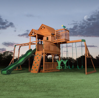 100 Cedar Lumber Play Set Cedar Summit Paramount Wooden Swing Set