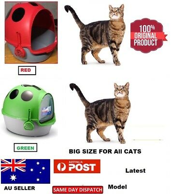 New Hooded Cat Litter Box - Portable Pet Kitten Cat Toilet Tray Pan House XL Au