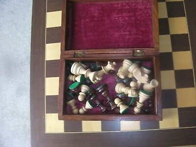 Vintage Wooden Chess Set,7.5cm kings,hand carved box + Inlaid solid wood Board.