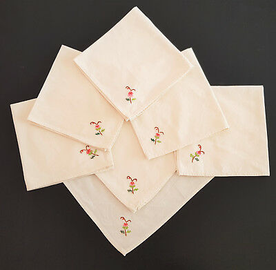 VINTAGE NAPKINS LINEN x 7 ~ COLLECTOR, FRENCH PROVINCIAL, COUNTRY, SHABBY CHIC