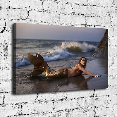 "12""x20""Mermaid Girl on Beach Painting Print on Canvas Home Decor Wall Art poster"