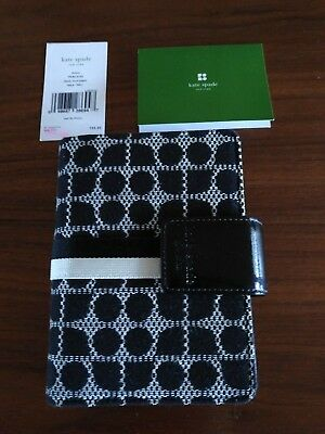 kate spade black white fabric small personal organizer planner binder Nwt