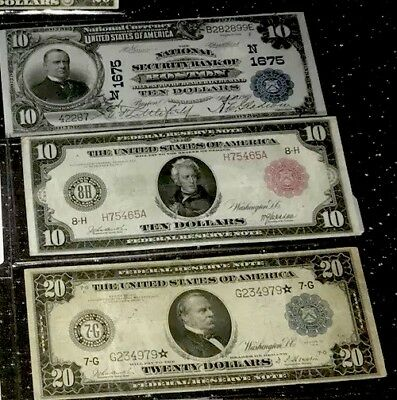 1902 National 1914 STAR Note ⭐️, 1914 red seal, 3 Authentic US currency lot NR⭐️