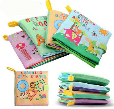 4x Baby Infant Toy Early Learning Education Animal Number Letter Soft Cloth Book