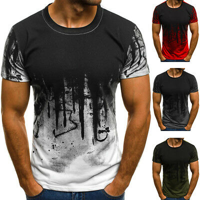 ✅UK Men's Gym Summer Slim Fit Casual Short Sleeve Muscle Tee Tops T-shirt Blouse