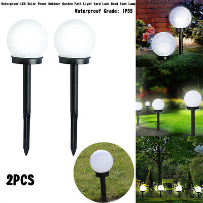 2pcs Solar Power LED Garden Outdoor Deck Path Walkway Lights Waterproof Lamp