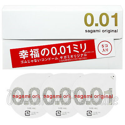 Sagami Original 001 condoms Non-latex Thinnest Ultra thin 0.01 Japan Box 5 PCS