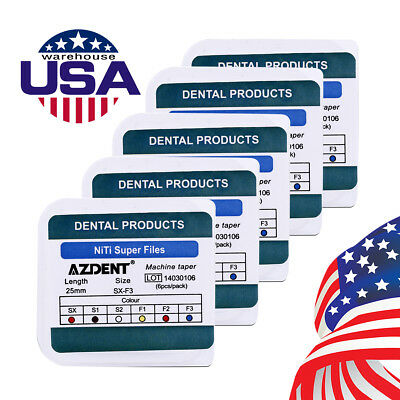 AZDENT 5 Packs Dental Engine Use NiTi Super Rotary File SX-F3 25mm Files