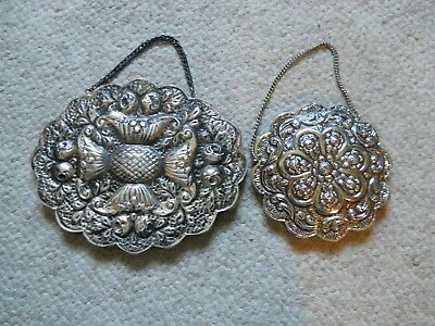 MIRRORS .900 Silver stamped REPOUSSE SURFACE DESIGN 2PIECES