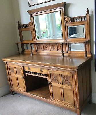 Stunning original antique carved solid oak sideboard with mirrors C1880