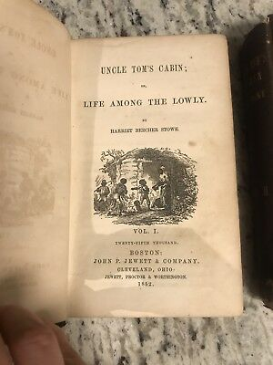 """1852 Rare Antique Books """"Uncle Tom's Cabin"""" First Edition , Early Print"""