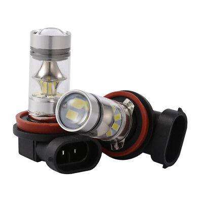 2X H11 100W 6000K LED Projector Fog Driving Light Bulbs White Headlights