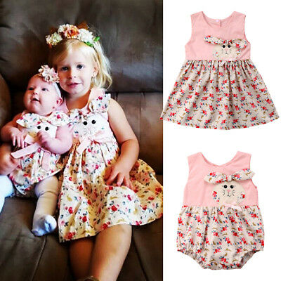 USA Kid Baby Girl Sister Match Romper Jumpsuit Clothes Floral Dress Outfit 0-6T