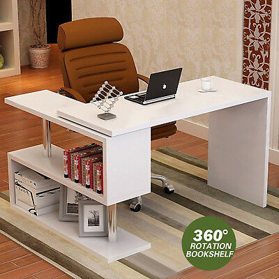 L Shaped Desk Computer Corner Study Table Home Office Desk W/Rotation Bookshelf