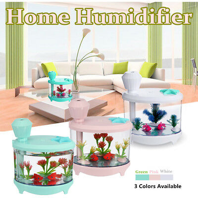 USB Humidifier Fish Tank Shaped Air Diffuser Purifier Aroma Mist Maker LED Light
